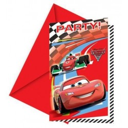 Invitations fête Cars x6