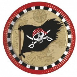 Assiettes en carton Pirate x8